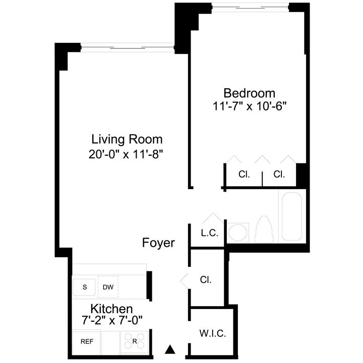 Floorplan of 1 Bedroom  1 Bath  Apartment