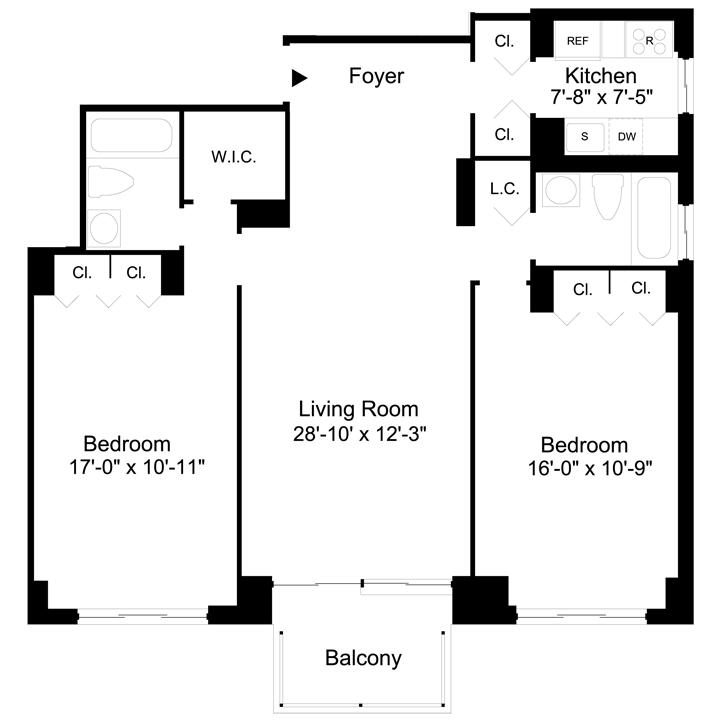 Floorplan of 2 Bedrooms  2 Bath  Apartment