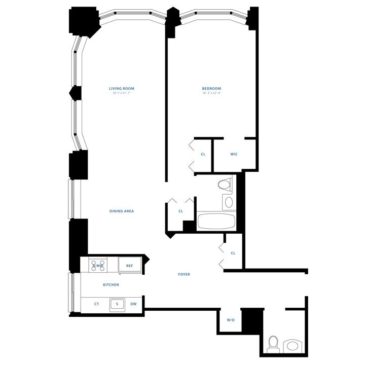 Floorplan of 1 Bedroom  1.5 Bath CONV2 Apartment