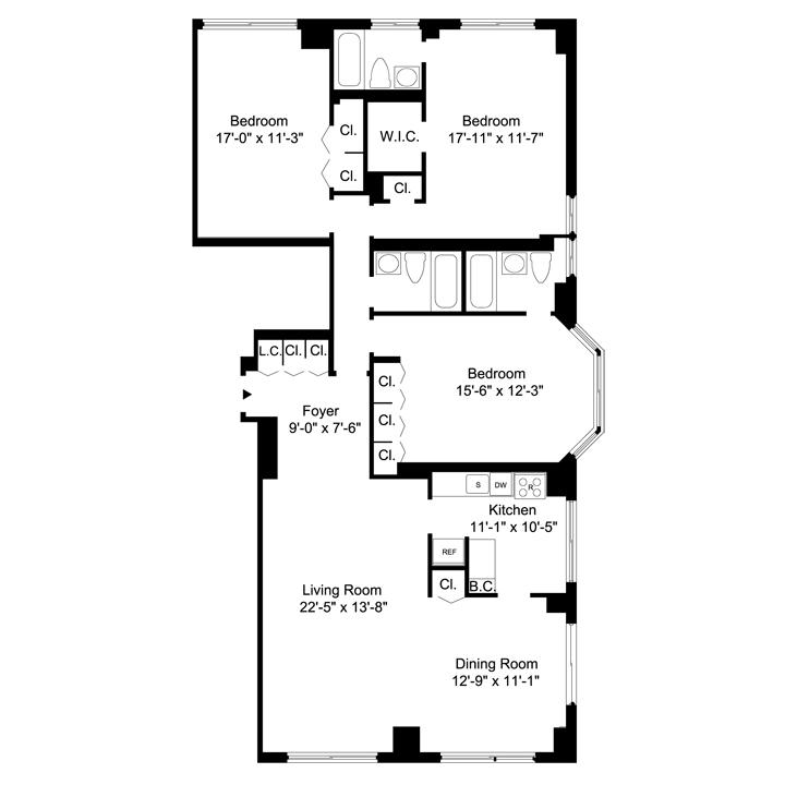 Floorplan of 3 Bedrooms  3 Bath CONV4 Apartment