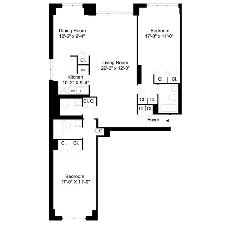 Floorplan of 2 Bedrooms  2.5 Bath CONV3 Apartment