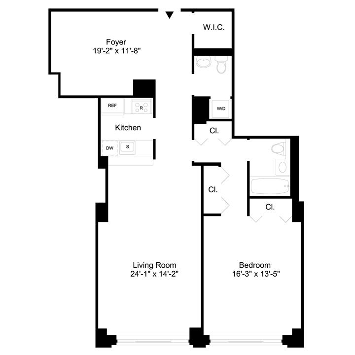 Floorplan of 1 Bedroom  1.5 Bath  Apartment