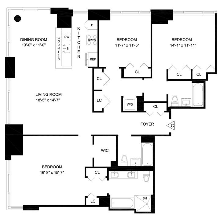 Floorplan of 3 Bedrooms  3 Bath  Apartment