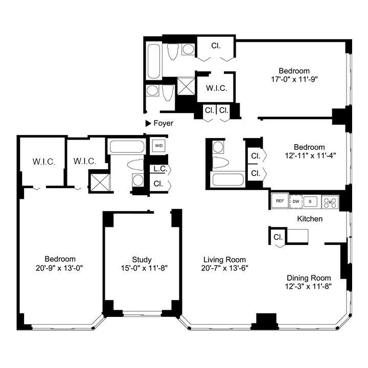 Floorplan of 4 Bedrooms  3.5 Bath CONV5 Apartment