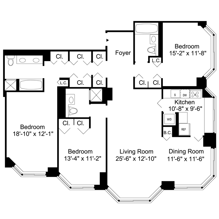 Floorplan of 3 Bedrooms  3 Bath  Apartment