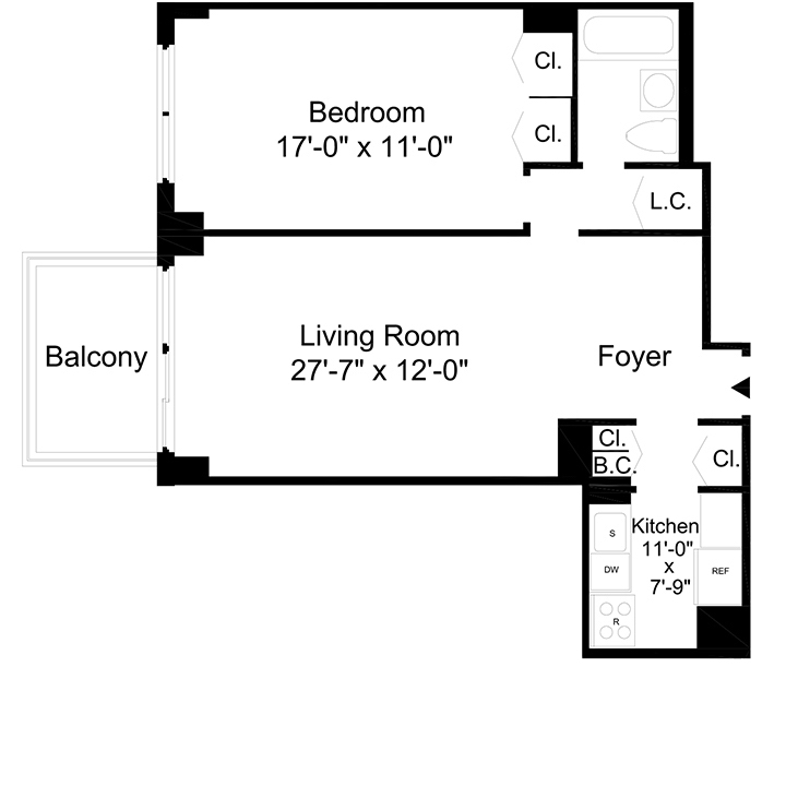 Floorplan of 1 Bedroom  1 Bath  Apartment