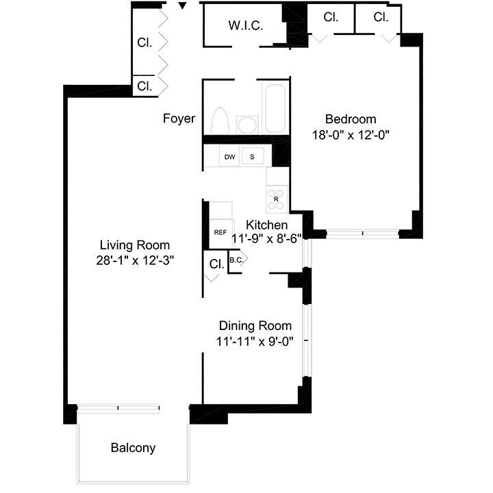 Floorplan of 1 Bedroom  1 Bath CONV2 Apartment