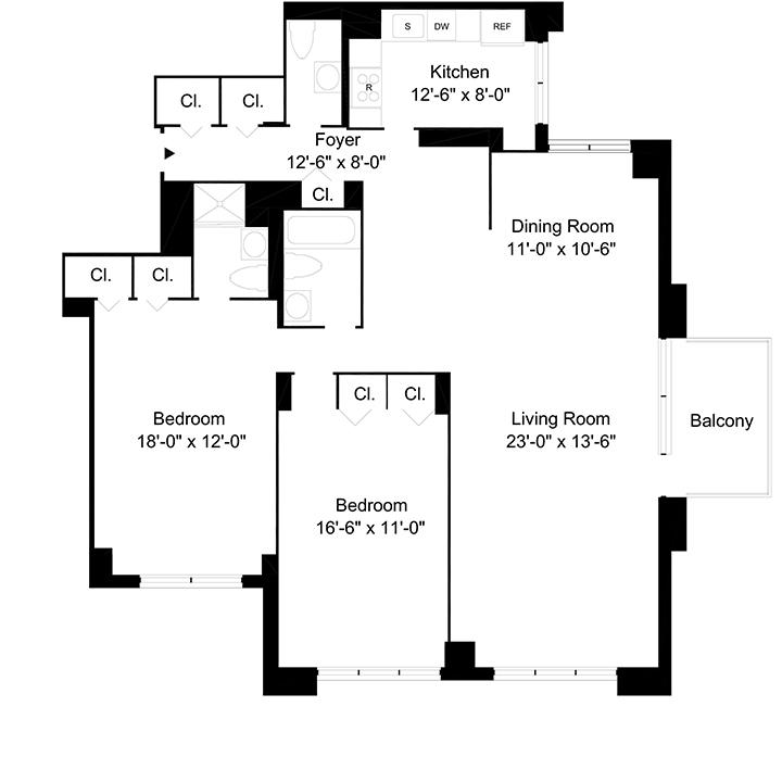 Floorplan of 2 Bedrooms  2.5 Bath CONV3 Apartment