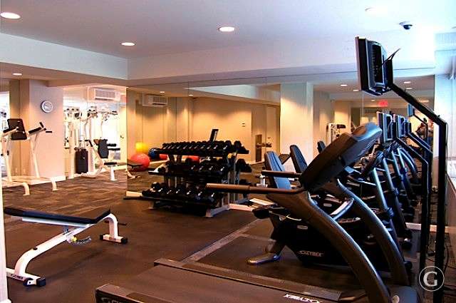 A row of treadmills and set of weights at the updated fitness center of a luxury New York City apartment.
