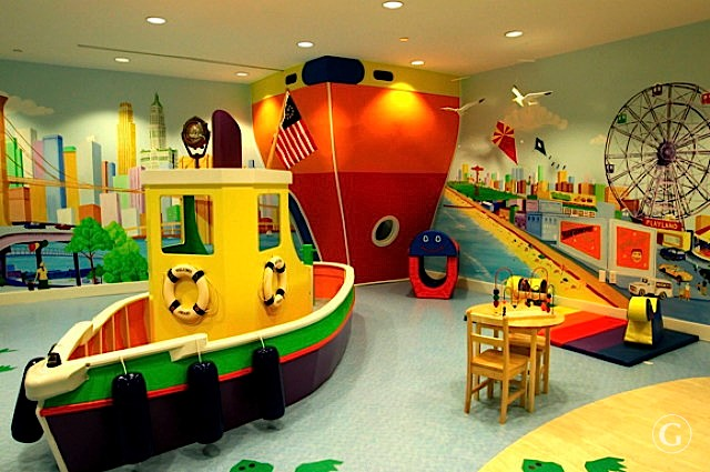 A colorful children's play room with ocean themed toys at Barclay Tower Apartments in New York City.