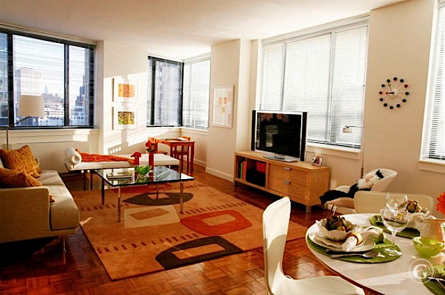 A bright and spacious living room with colorful area rugs in a New York City apartment.